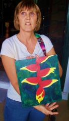 Sara with her painting